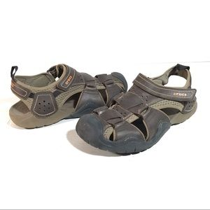 CROCS Swiftwater Mens 12 Brown Leather Sandals